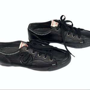 True Religion Black Men's Leather Lace-up Sneakers